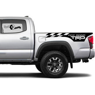 TRD 4x4 Off-Road Checkered Flag BedSide Side Vinyl Stickers Decal fit to Toyota Tacoma Tundra all years #11