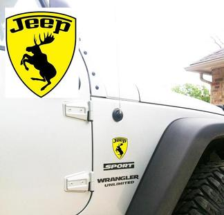 Jeep Wrangler Rubicon tanzender Elch TJ YK JK XJ Vinylaufkleber