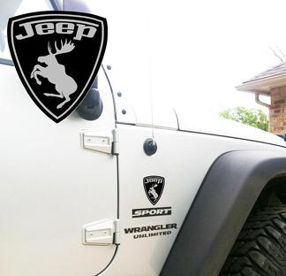 Jeep Wrangler Rubicon Prancing Moose Grey YK JK XJ Vinyl Sticker