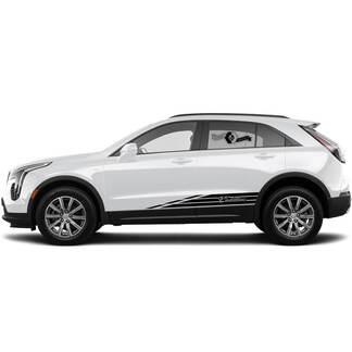 2 neue Aufkleber-Rocker-Panel-Aufkleber-Linien-Streifen für Cadillac XT4