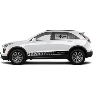 2 neue Aufkleber Logo Rocker Panel Aufkleber Linien Streifen für Cadillac XT4