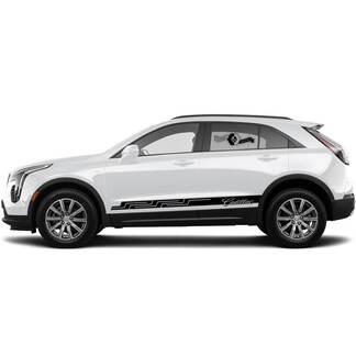 2 neue Aufkleber-Rocker-Platten-Aufkleber-Linien-Muster-Streifen für Cadillac XT4