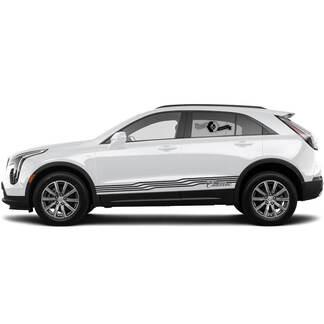 2 neue Aufkleber-Rocker-Panel-Aufkleber-Linien Kurvenlinien-Illusionsstreifen für Cadillac XT4