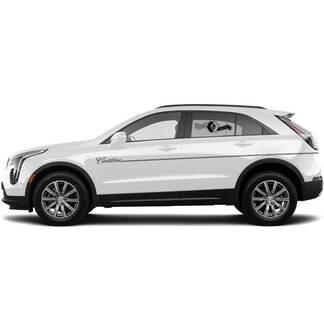 2 neue Aufkleber-Rocker-Panel-Aufkleber-Linien spalten dünne Linien Klassischer Streifen für Cadillac XT4