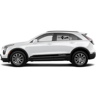 2 neue Aufkleber-Rocker-Platten-Aufkleber-Linien Triple Dünne Linien Klassischer Streifen für Cadillac XT4