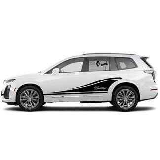 2 neue Aufklebertür-klassische Aufkleber-Streifen binär breit für Cadillac XT6