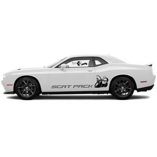 2 Side Dodge Challenger Scat Pack in Zeile Сlassic Side Vinyl Decals Graphics Aufkleber