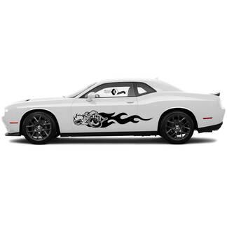 2 Side Dodge Challenger Super Biene Türen Flammenseite Сlassic Side Vinyl Decals Graphics Aufkleber