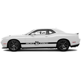 2 Side Dodge Challenger Scat Packtür große Seite Сlassic stripe feste seite vinyl decals graphics aufkleber