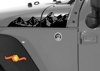 2 Jeep Wrangler Mountain Hood Left Right Sticker Decal#2