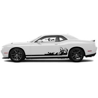 2 seite Dodge Challenger Scat Pack Rocker Panel Seite Сlassic stripe feste seite vinyl decals graphics aufkleber