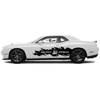 2 Side Dodge Challenger Scat Packung zerstört Big Splash Wrap Side Vinyl Decals Graphics Aufkleber