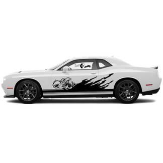 2 Side Dodge Challenger Super Biene Rocker Panel Seite Сlassic stripe feste seite vinyl decals graphics aufkleber