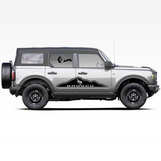 Paar Berge Bronco Pferd Hengst Logo Side Decals Aufkleber für Ford Bronco 2021