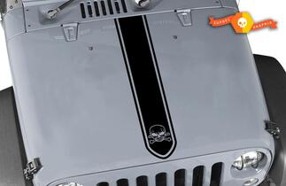 Jeep Wrangler Haubenstreifen mit Skull & Cross Bone Sticker De