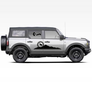 Paar Berge Bronco Pferd Hengst Erdlogo Seitenaufkleber Aufkleber für Ford Bronco 2021