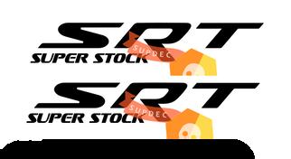2x SRT Super Stock in Grunge Beunruhigten Stil Side Spritzen Vinyl Aufkleber Für Dodge Charger Challenger