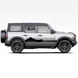 Paar Bronco Mountains Badlands 4-türige Seite Streifen Aufkleber Aufkleber für Ford Bronco 2021