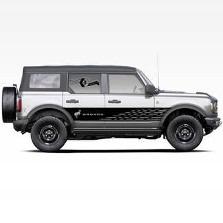 Paar Bronco Hengst Hengst Logo Badlands 4-türige Seitentüren Streifen Aufkleber Aufkleber für Ford Bronco 2021