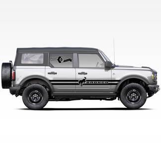 Paar Bronco Hengst Hengst Logo Doppelstreifen Seitentüren Streifen Abziehbilder Aufkleber für Ford Bronco 2021