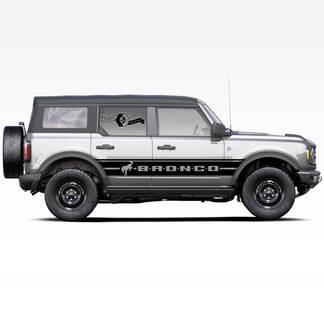 2X Bronco Hengst Hengst Logo Badlands 4-türige Wickeltüren Seite dicke Streifen Aufkleber Aufkleber für Ford Bronco 2021