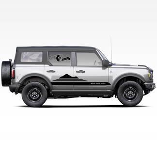 Paar Bronco Mountains Badlands 4-türige Seite Streifen Strobe Abziehbilder Aufkleber für Ford Bronco 2021