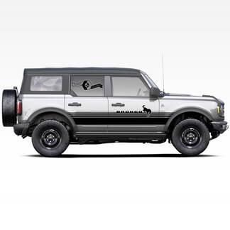 2x Bronco Hengst Hengst Badlands 4-türige Wickeltüren Seite dicke Streifen Aufkleber Aufkleber für Ford Bronco 2021