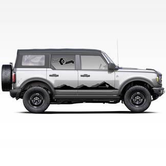 Paar Bronco Mountains Schatten Badlands 4-türige seitliche Streifen Strobe Abziehbilder Aufkleber für Ford Bronco 2021
