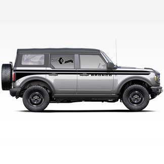 Paar Bronco-Türen UP Akzent-Linie Split Badlands 4-türige seitliche Streifen-Aufkleber Aufkleber für Ford Bronco 2021