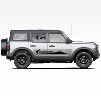 Paar Bronco Mountains Pferd Badlands 4-türige Seite Streifen Strobe Abziehbilder Aufkleber für Ford Bronco 2021