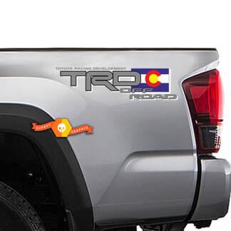 2 Toyota TRD Racing Tacoma Tundra Flag Colorado Decal Vinyl Pair Sticker Truck