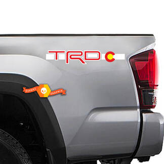 2 Toyota TRD Racing Tacoma Tundra Flag Colorado Decal Vinyl Pair Sticker Truck #2