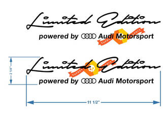 2 x Limited edition Audi Motorsport Decal Sticker compatible with Audi models 2