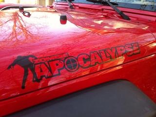 2 Zombie Apocalypse Jeep Wrangler Renegade Rubicon Hood Decals
