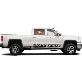 2 Turbo-Diesel-Rocker-Panel Vinyl-Abziehbilder passen an GMC Sierra