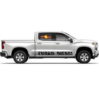 2 Turbo-Diesel-Rocker-Panel Vinyl-Abziehbilder passen zu Chevy Chevrolet Silverado