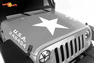 2 Jeep Wrangler U.S.A. Army Hood Vinyl Decal Sticker