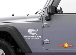 2 Jeep USA Flag Maps JK Wrangler Decals