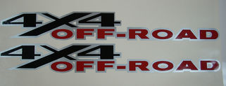 2 DODGE RAM 4x4 OFF ROAD TRUCK Silver Outline Vinyl Decals Stick