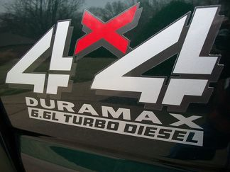 2 4x4 DURAMAX 6.6l TURBO DIESEL Vinyl Decals Stickers