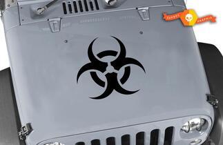 Zombie Jeep biohazard hood hazmat Wrangler Vinyl Stickers