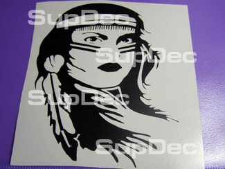 Native American Indian Girl decal sticker Moto Car etc