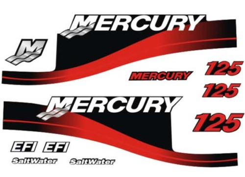 125hp Mercury EFI SaltWater outboard motor cowl boat decals grap