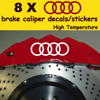 8 x Audi Brake Caliper Decals Stickers Vinyl Emblem Graphics Log