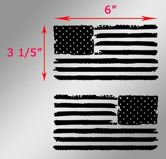 2 Jeep USA Flag Distressed Wrangler Links- und Rechtsabziehbilder