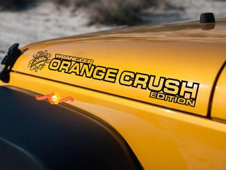 PAIR Jeep Decal ORANGE CRUSH WRANGLER Hood Decal rubicon sahara JK CJ TJ YJ