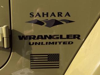 Jeep Mountain USA Flag Sahara Wrangler Unlimited CJ TJ YK JK XJ All Colors Sticker Decal