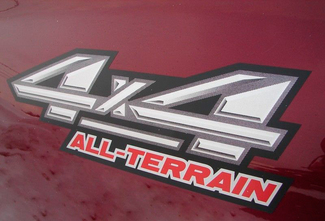 Custom 4x4 All-Terrain Truck ATV 4wd Badge Decal Emblem Pair