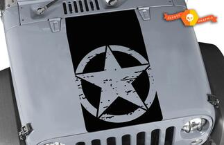 Jeep Wrangler Blackout Oscar Mike Distressed Star Vinyl Hood Decal TJ LJ JK