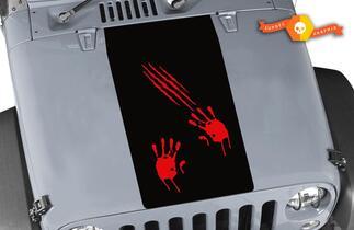 Jeep Wrangler Blackout Zombie Attack Vinyl Hood Decal TJ LJ JK Unlimited